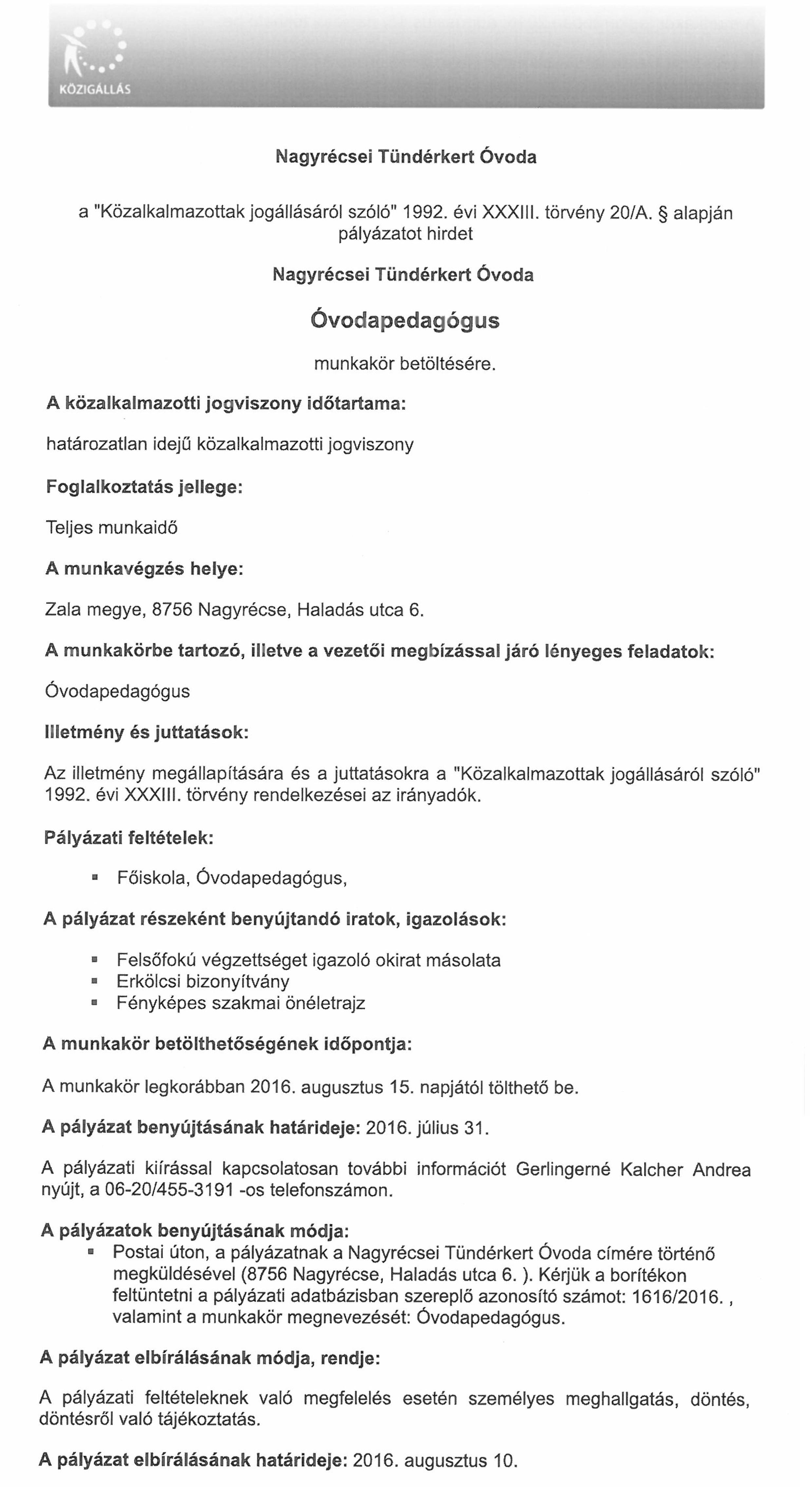 Óvodapedagógus munkakör Nagyrécse-1